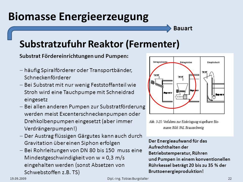Substratzufuhr Reaktor (Fermenter)