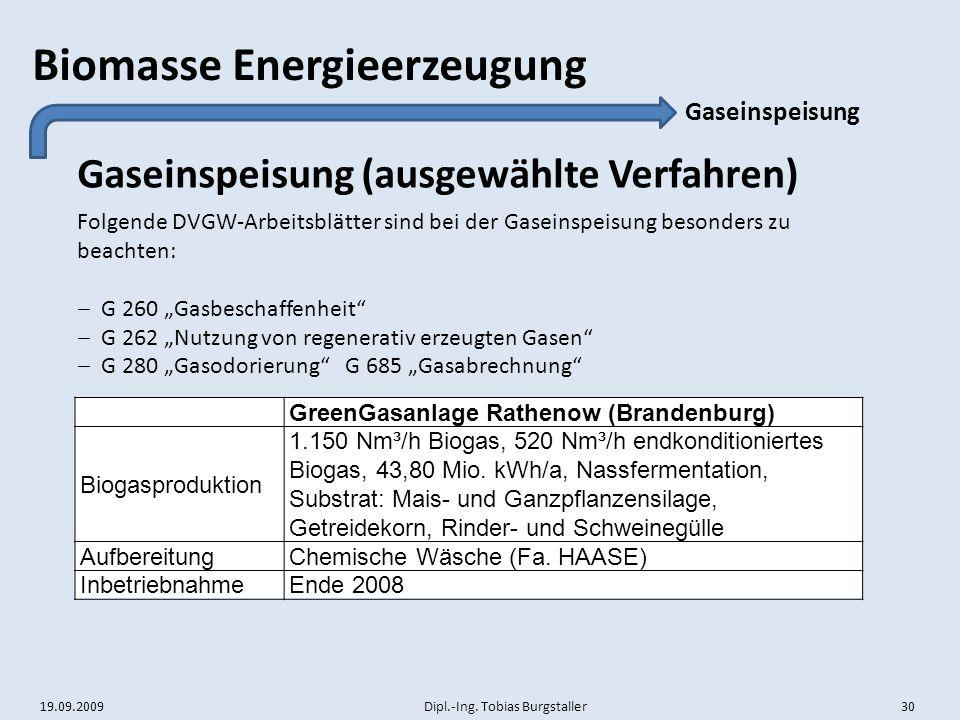 Gaseinspeisung (ausgewählte Verfahren)