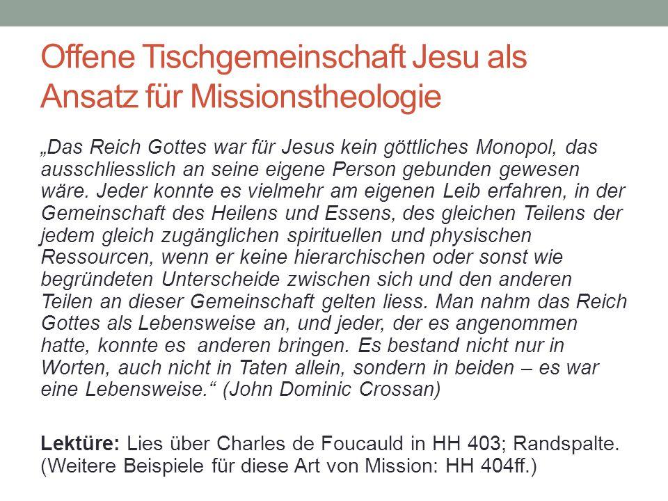 Offene Tischgemeinschaft Jesu als Ansatz für Missionstheologie
