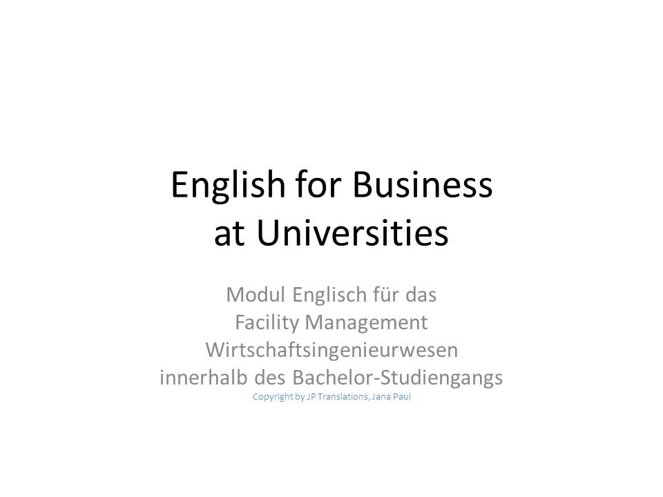 English for Business at Universities