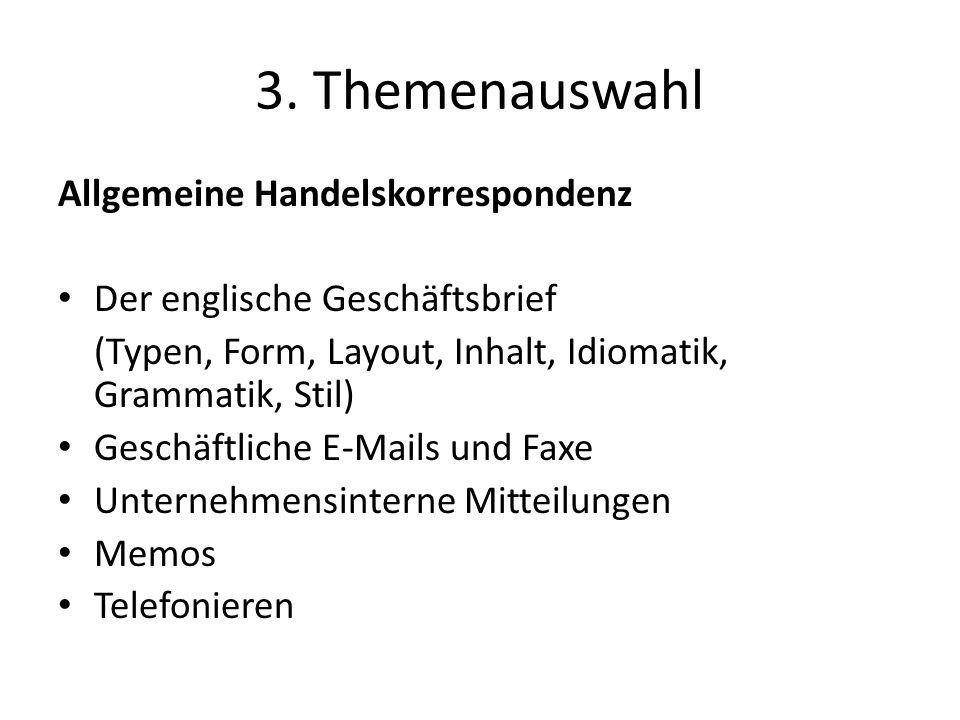 3. Themenauswahl Allgemeine Handelskorrespondenz