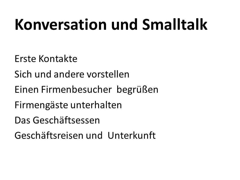 Konversation und Smalltalk