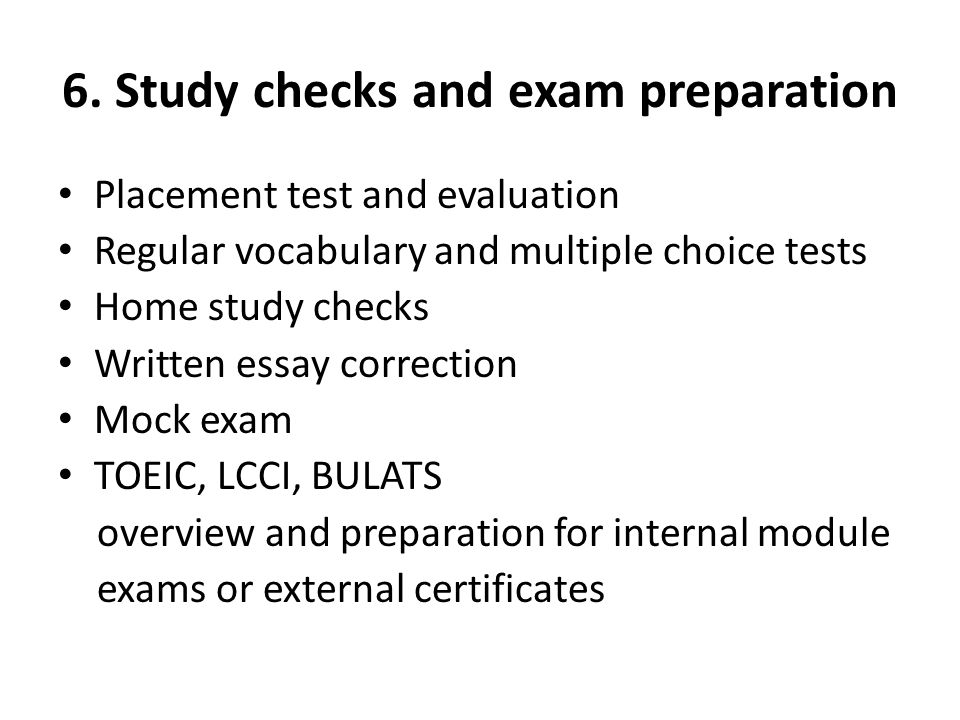 6. Study checks and exam preparation