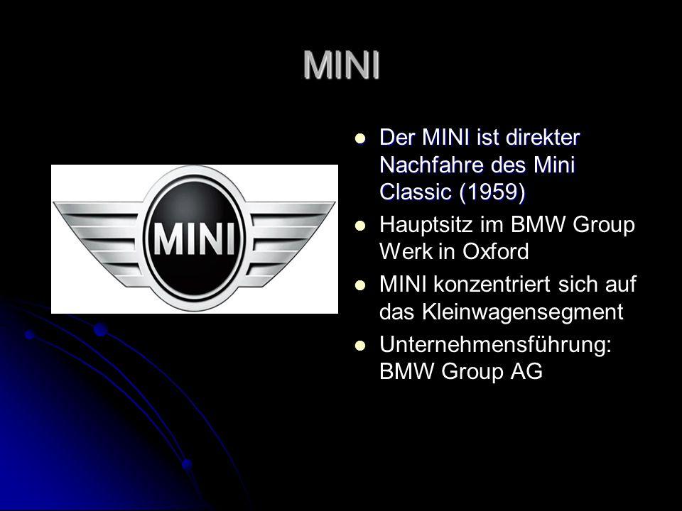 MINI Der MINI ist direkter Nachfahre des Mini Classic (1959)