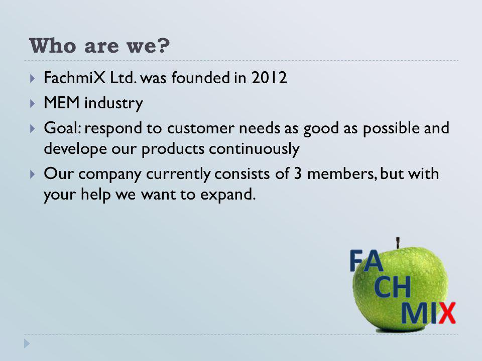 Who are we FachmiX Ltd. was founded in 2012 MEM industry
