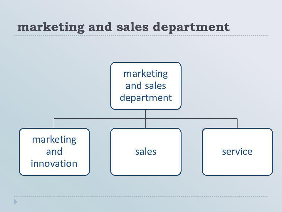 marketing and sales department