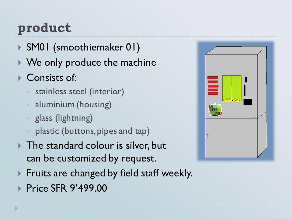 product SM01 (smoothiemaker 01) We only produce the machine