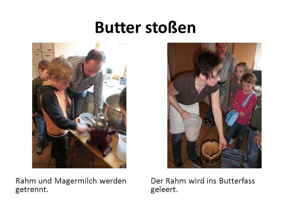 Butter stoßen Rahm und Magermilch werden getrennt.
