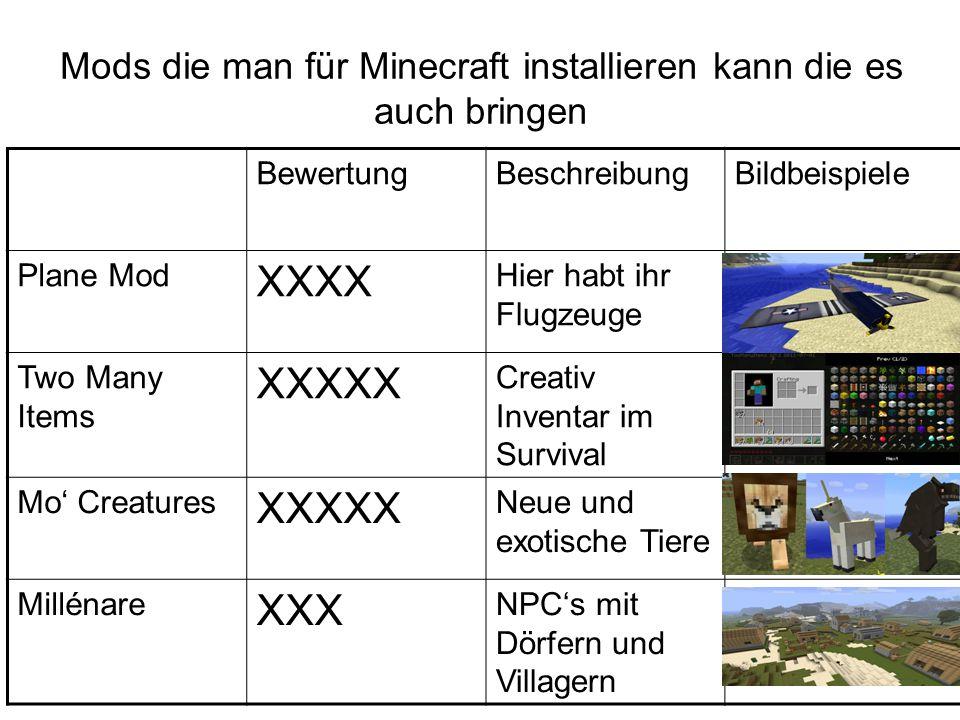 Mods die man für Minecraft installieren kann die es auch bringen