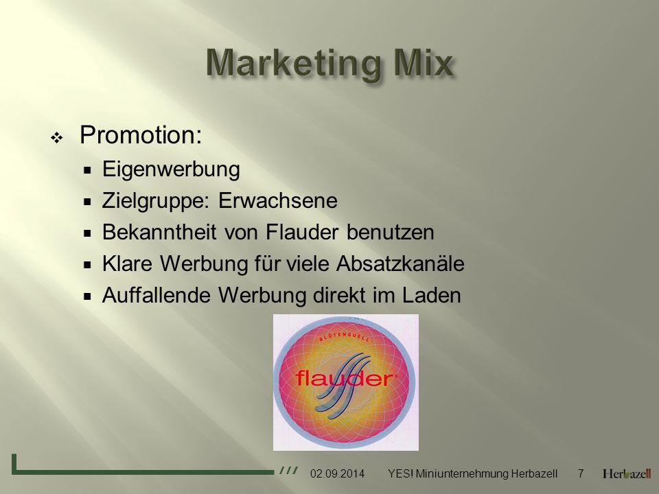Marketing Mix Promotion: Eigenwerbung Zielgruppe: Erwachsene