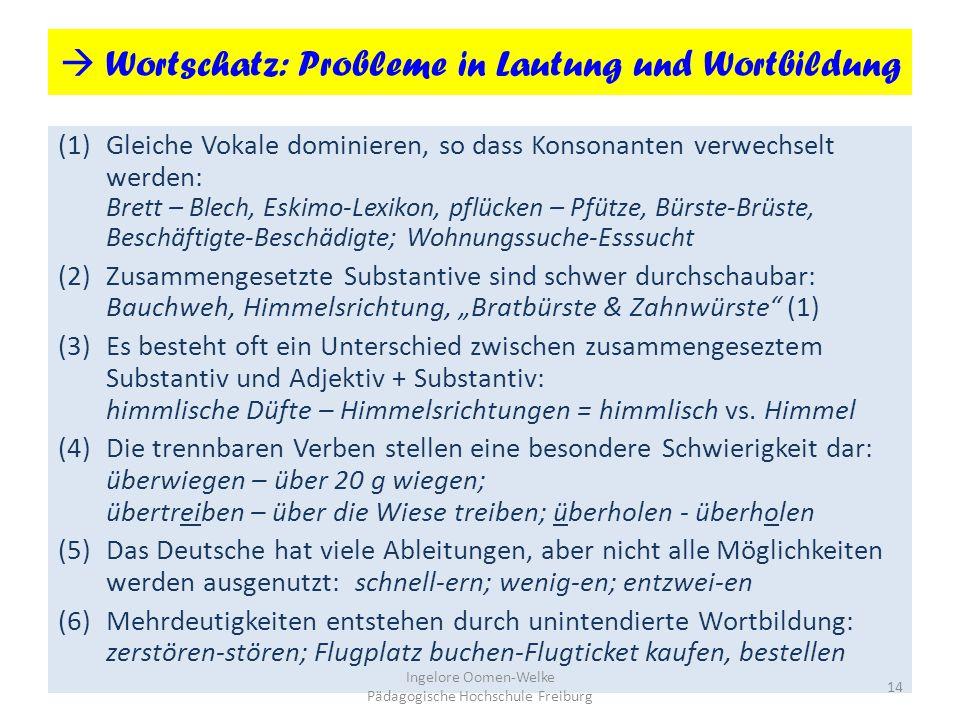  Wortschatz: Probleme in Lautung und Wortbildung