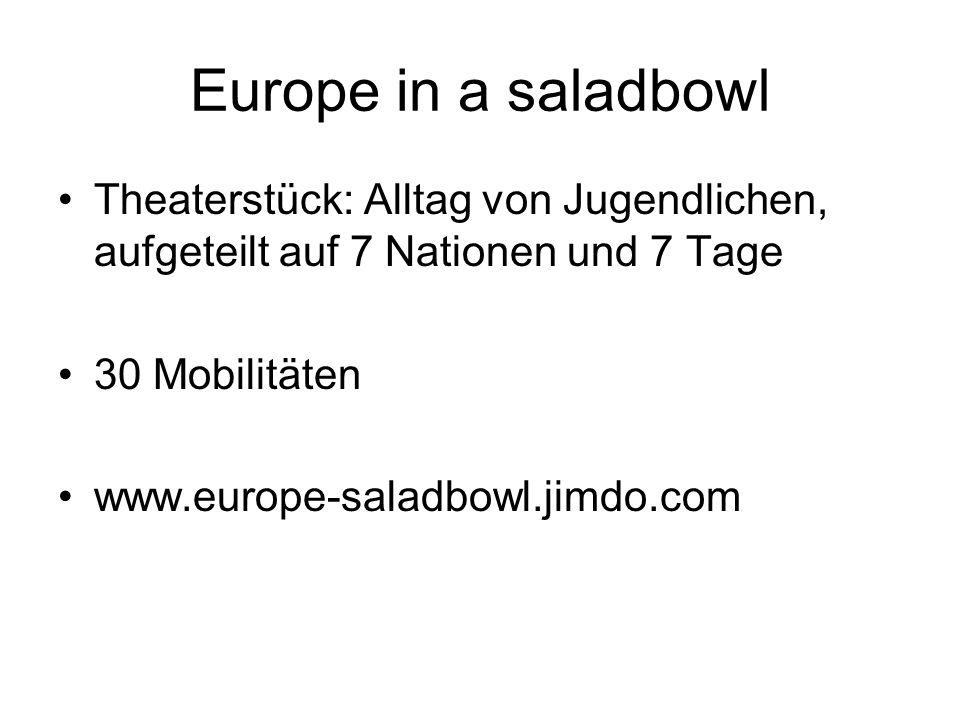 Europe in a saladbowl Theaterstück: Alltag von Jugendlichen, aufgeteilt auf 7 Nationen und 7 Tage. 30 Mobilitäten.