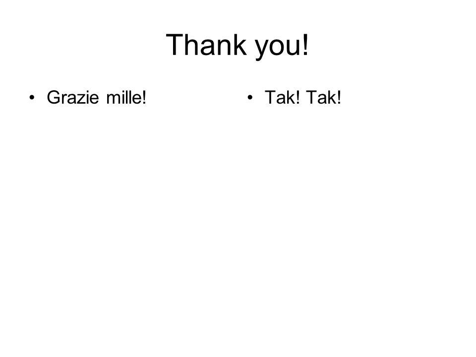 Thank you! Grazie mille! Tak! Tak!