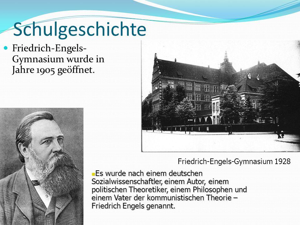 Schulgeschichte Friedrich-Engels-Gymnasium wurde in Jahre 1905 geöffnet. Friedrich-Engels-Gymnasium 1928.