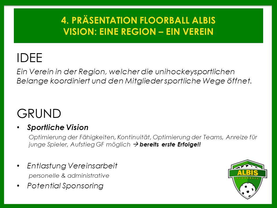 4. PRÄSENTATION FLOORBALL ALBIS VISION: EINE REGION – EIN VEREIN