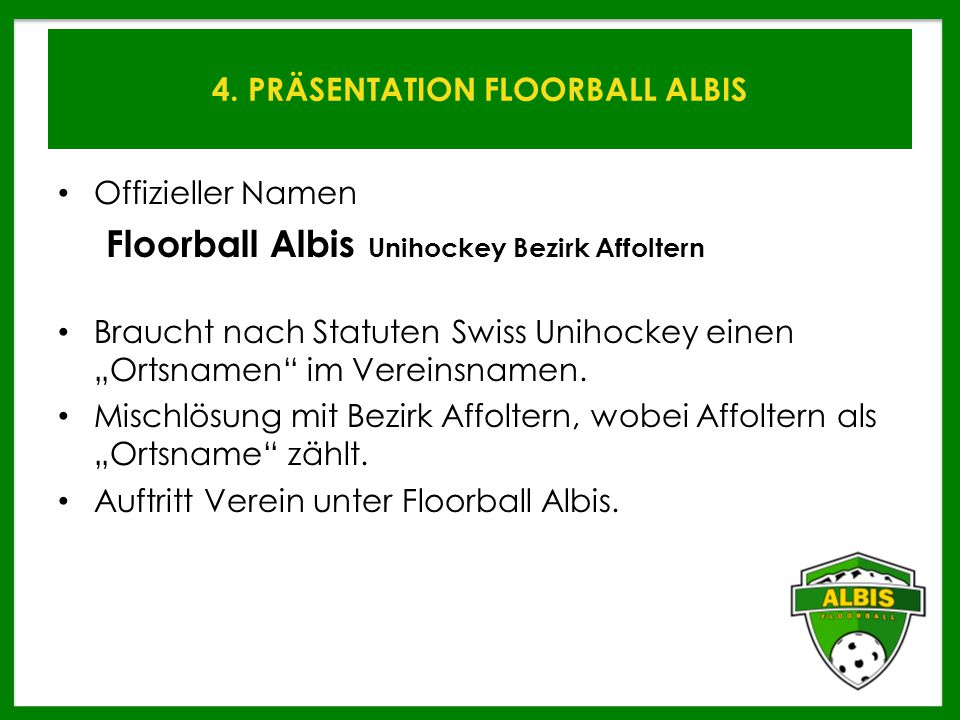 4. PRÄSENTATION FLOORBALL ALBIS