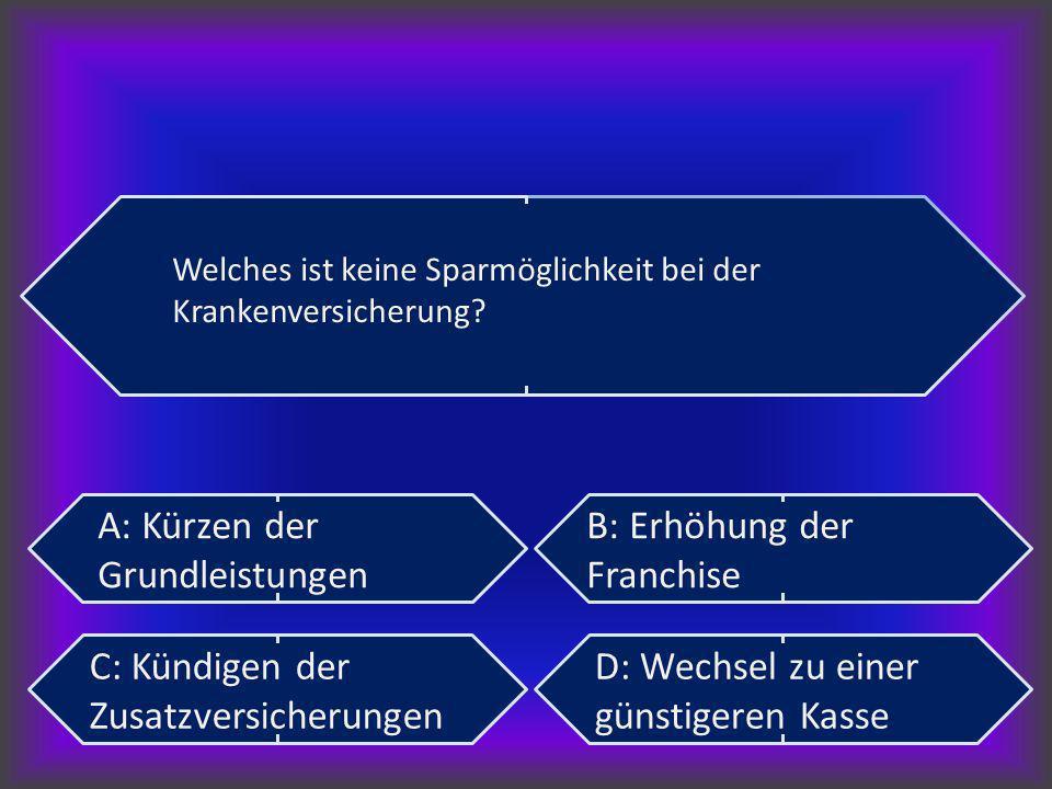 A: Kürzen der Grundleistungen B: Erhöhung der Franchise