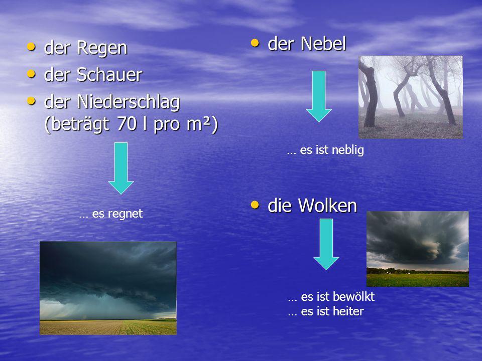 der Niederschlag (beträgt 70 l pro m²)