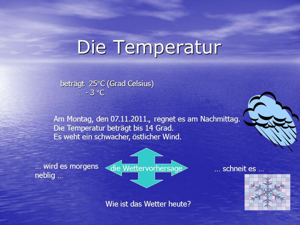 Die Temperatur beträgt 25°C (Grad Celsius) … - 3 °C