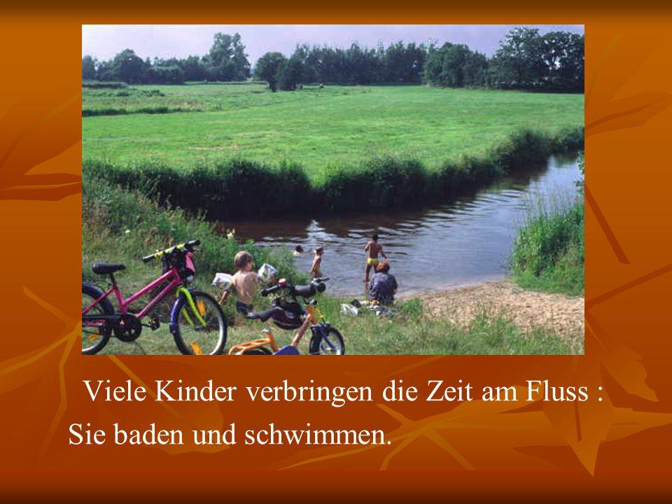 Viele Kinder verbringen die Zeit am Fluss :