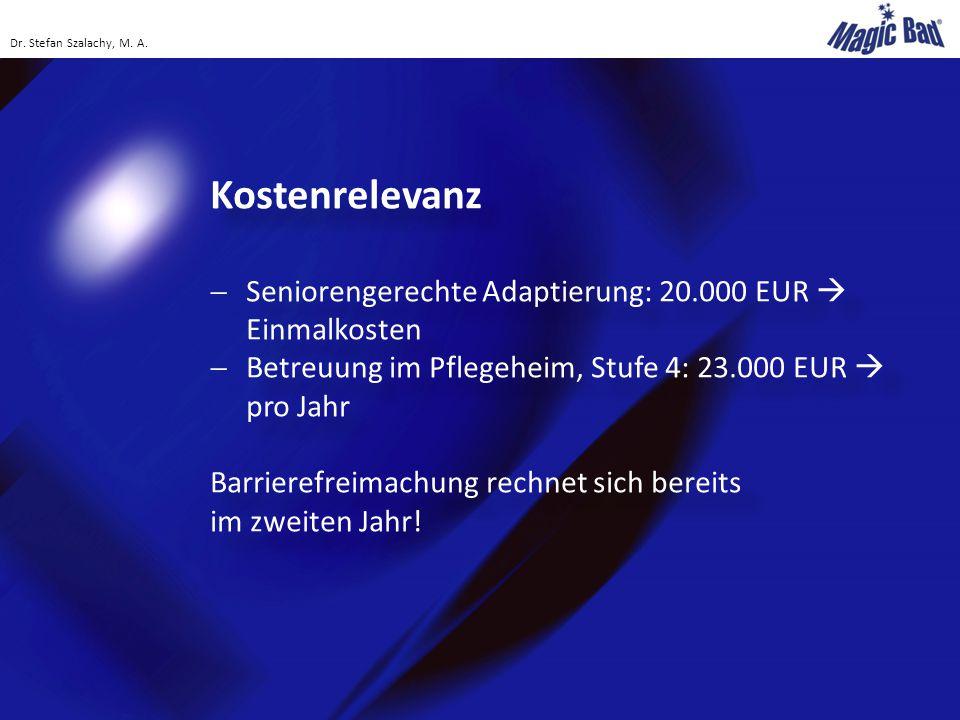 Kostenrelevanz Seniorengerechte Adaptierung: 20.000 EUR  Einmalkosten