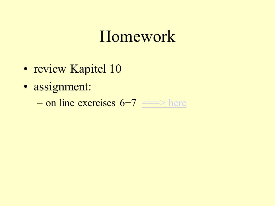 Homework review Kapitel 10 assignment: