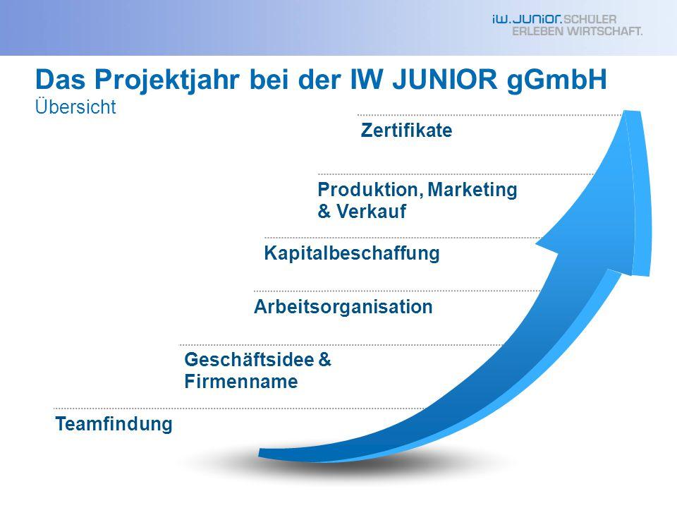 Das Projektjahr bei der IW JUNIOR gGmbH Übersicht