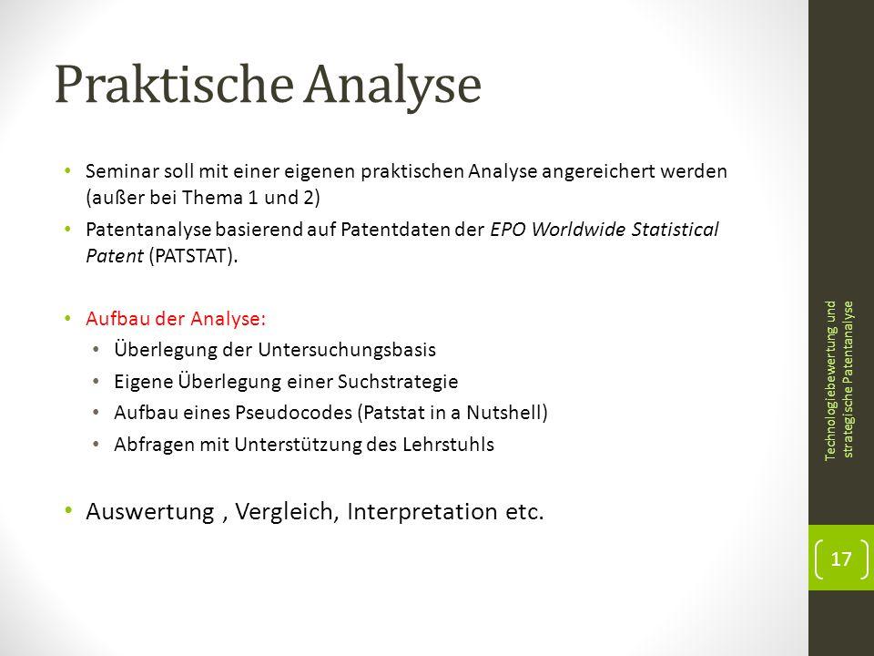 Praktische Analyse Auswertung , Vergleich, Interpretation etc.