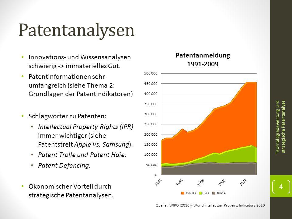 Patentanalysen Innovations- und Wissensanalysen schwierig -> immaterielles Gut.