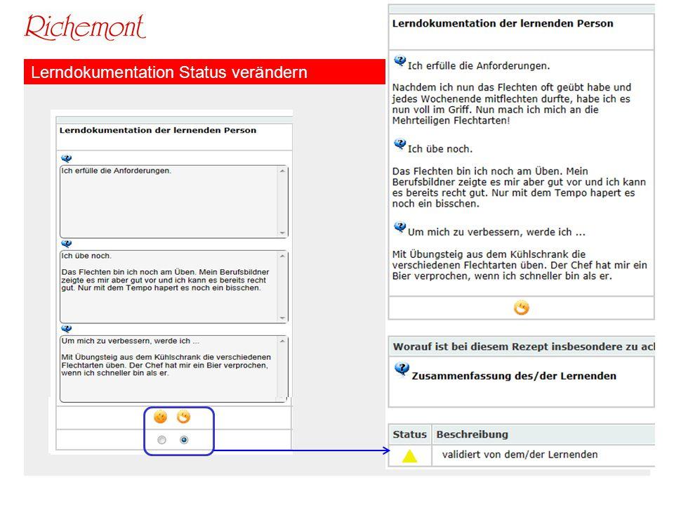 Lerndokumentation Status verändern