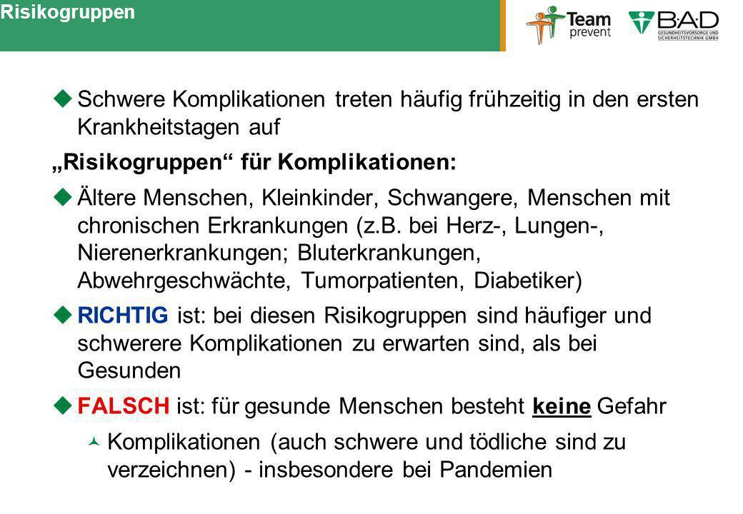 """""""Risikogruppen für Komplikationen:"""