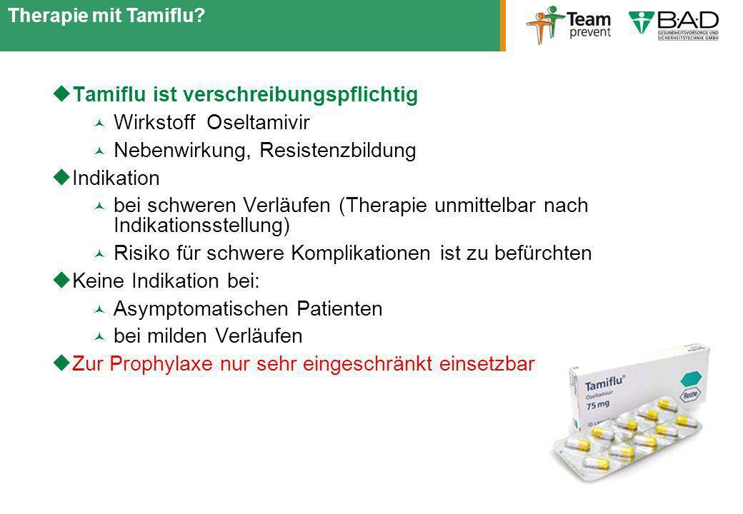Tamiflu ist verschreibungspflichtig Wirkstoff Oseltamivir