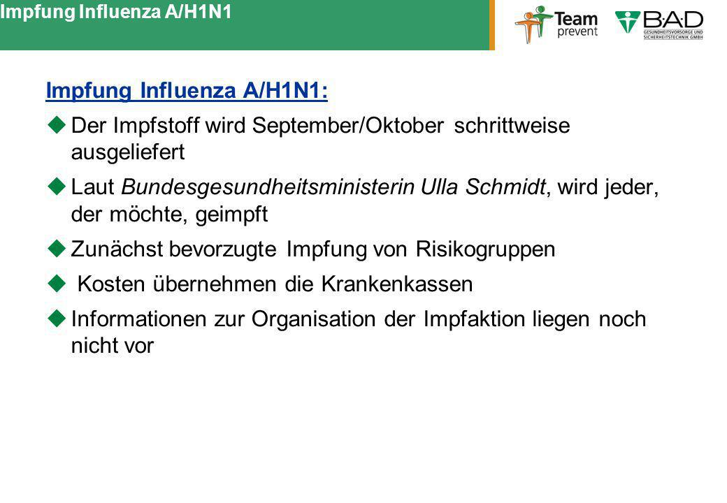 Impfung Influenza A/H1N1