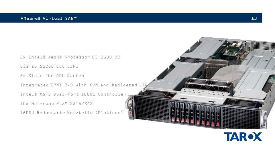 VMware® Virtual SAN™ 2x Intel® Xeon® processor E5-2600 v2. Bis zu 512GB ECC DDR3. 2x Slots für GPU Karten.