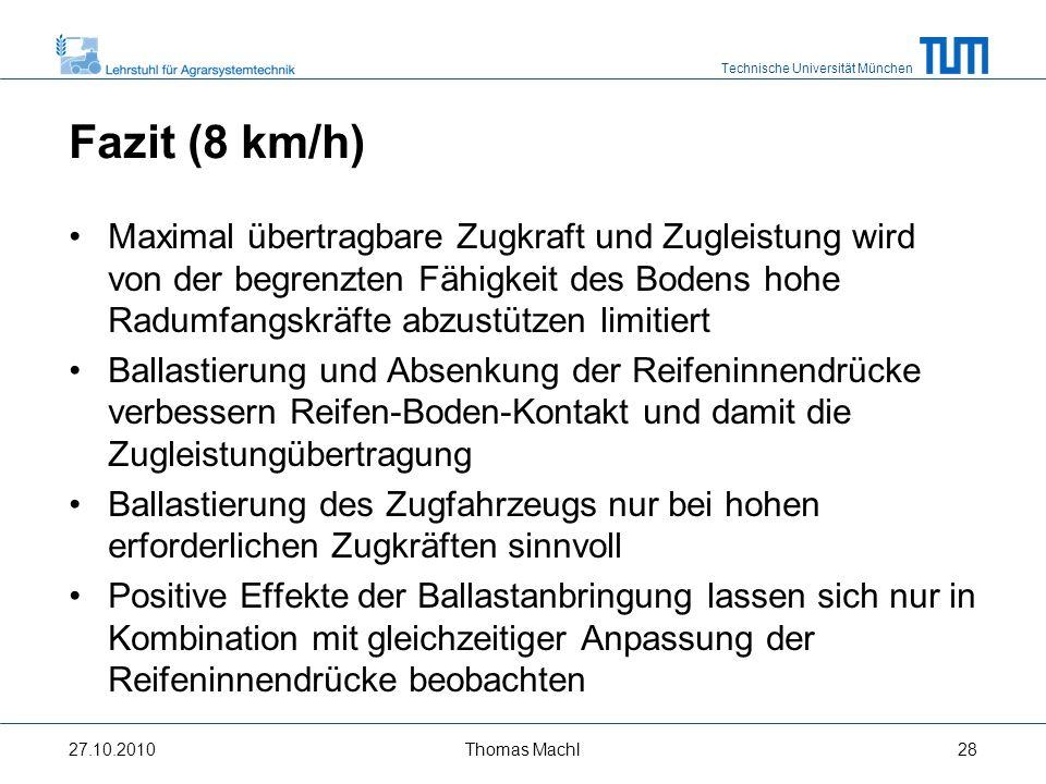 Fazit (8 km/h) Maximal übertragbare Zugkraft und Zugleistung wird von der begrenzten Fähigkeit des Bodens hohe Radumfangskräfte abzustützen limitiert.