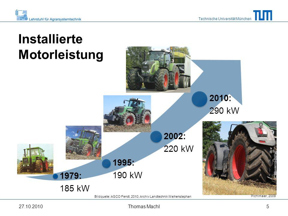 Installierte Motorleistung 2010: 290 kW 2002: 220 kW 1995: 190 kW