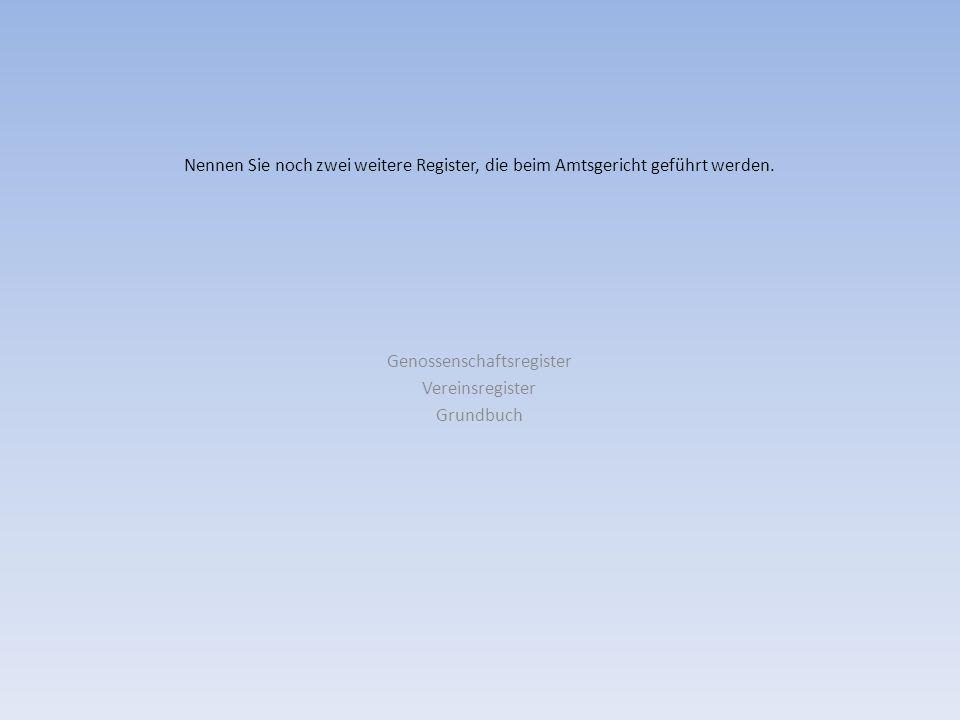 Genossenschaftsregister Vereinsregister Grundbuch