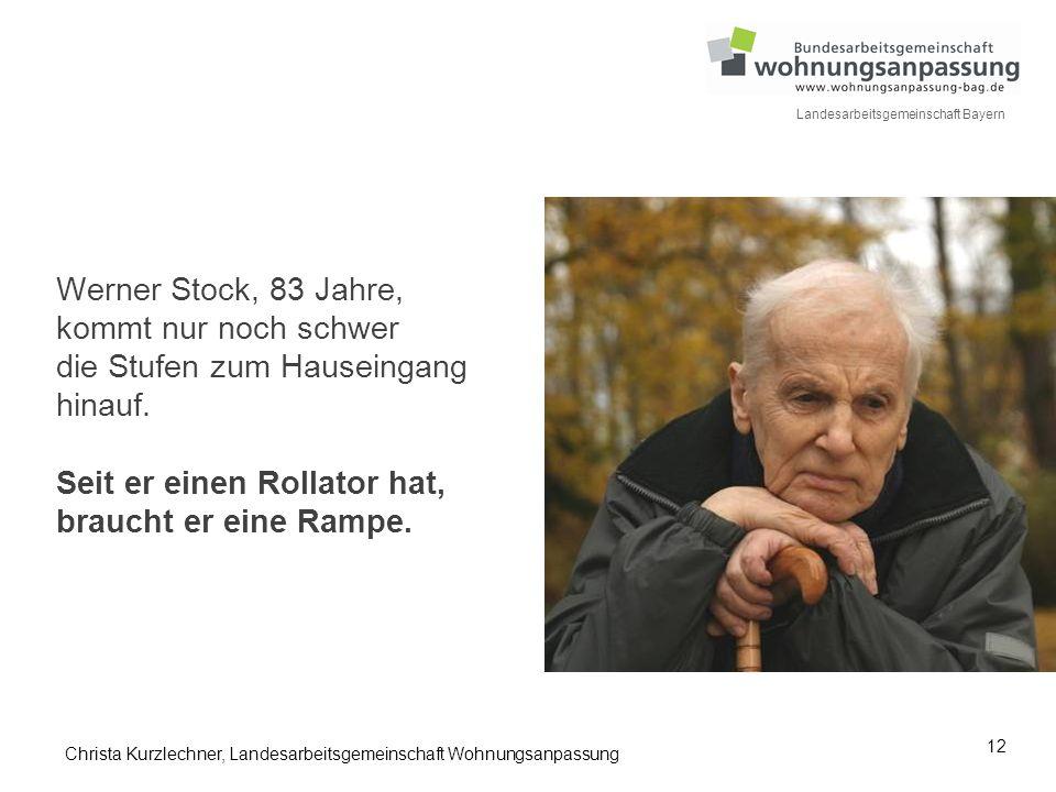 Werner Stock, 83 Jahre, kommt nur noch schwer die Stufen zum Hauseingang hinauf. Seit er einen Rollator hat, braucht er eine Rampe.