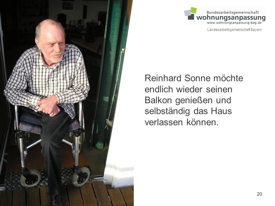 Reinhard Sonne möchte endlich wieder seinen Balkon genießen und selbständig das Haus verlassen können.
