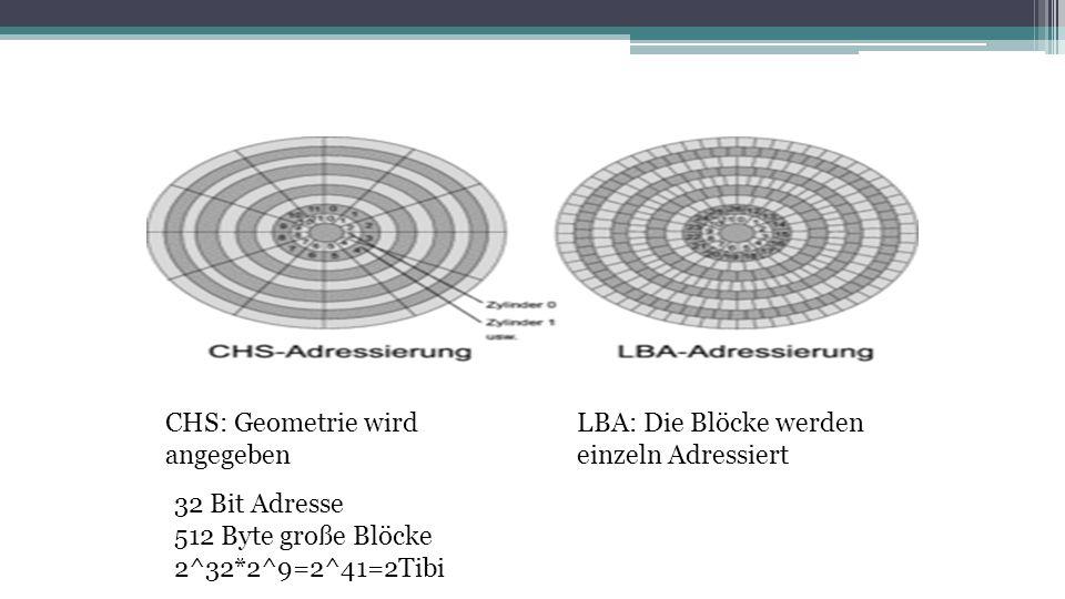 CHS: Geometrie wird angegeben. LBA: Die Blöcke werden. einzeln Adressiert. 32 Bit Adresse. 512 Byte große Blöcke.