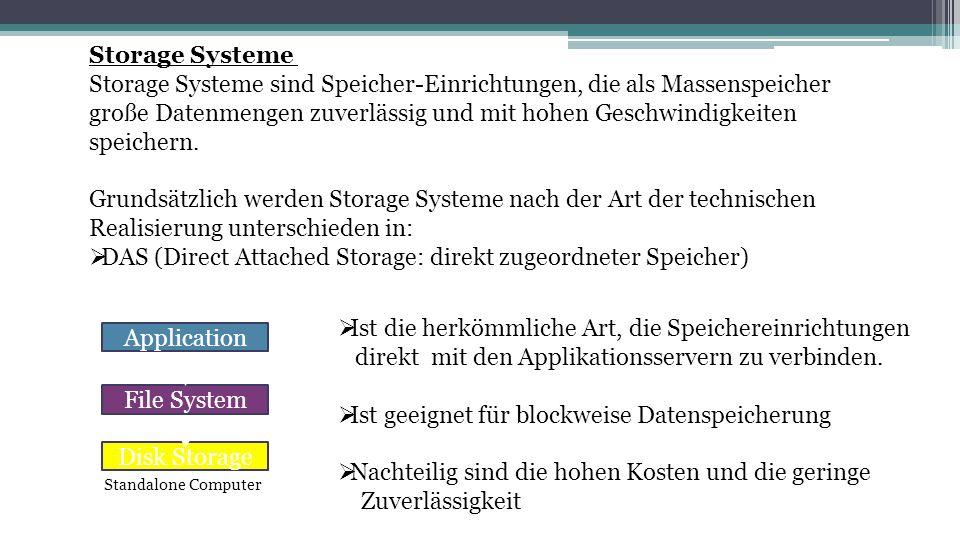 Storage Systeme sind Speicher-Einrichtungen, die als Massenspeicher