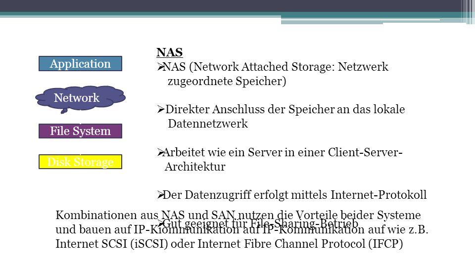 NAS NAS (Network Attached Storage: Netzwerk. zugeordnete Speicher) Direkter Anschluss der Speicher an das lokale.