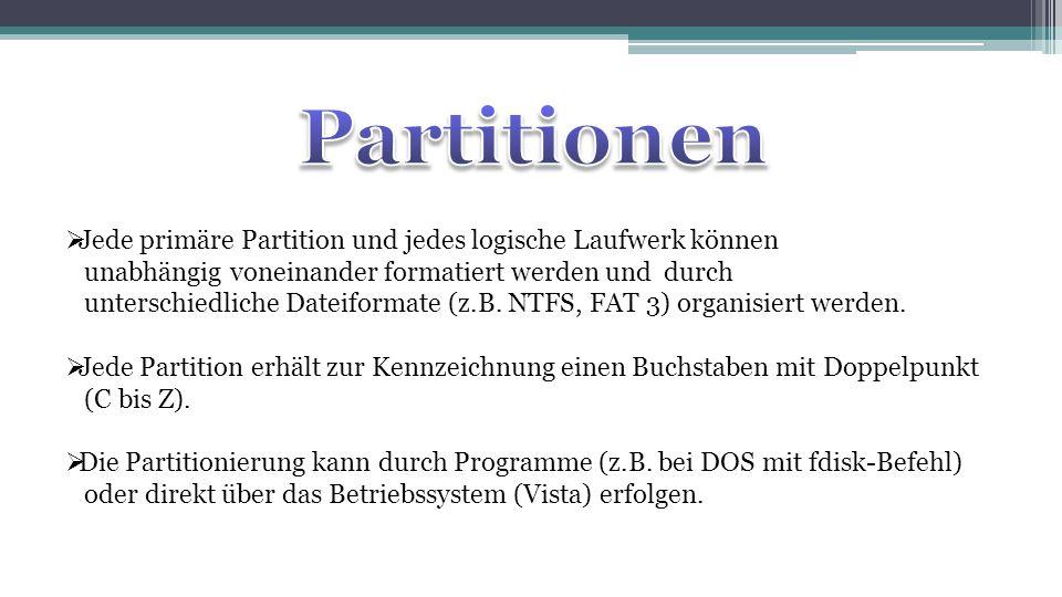 Partitionen Jede primäre Partition und jedes logische Laufwerk können
