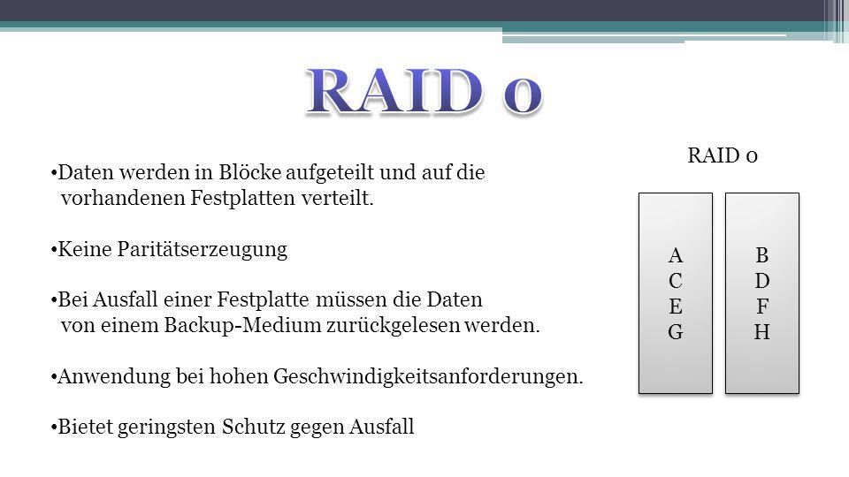 RAID 0 RAID 0. Daten werden in Blöcke aufgeteilt und auf die vorhandenen Festplatten verteilt. Keine Paritätserzeugung.