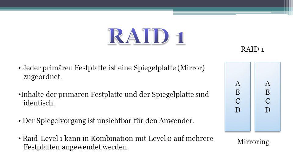 RAID 1 RAID 1. Jeder primären Festplatte ist eine Spiegelplatte (Mirror) zugeordnet.