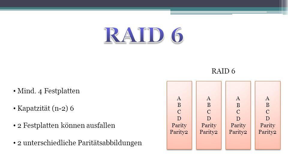 RAID 6 RAID 6 Mind. 4 Festplatten Kapatzität (n-2) 6