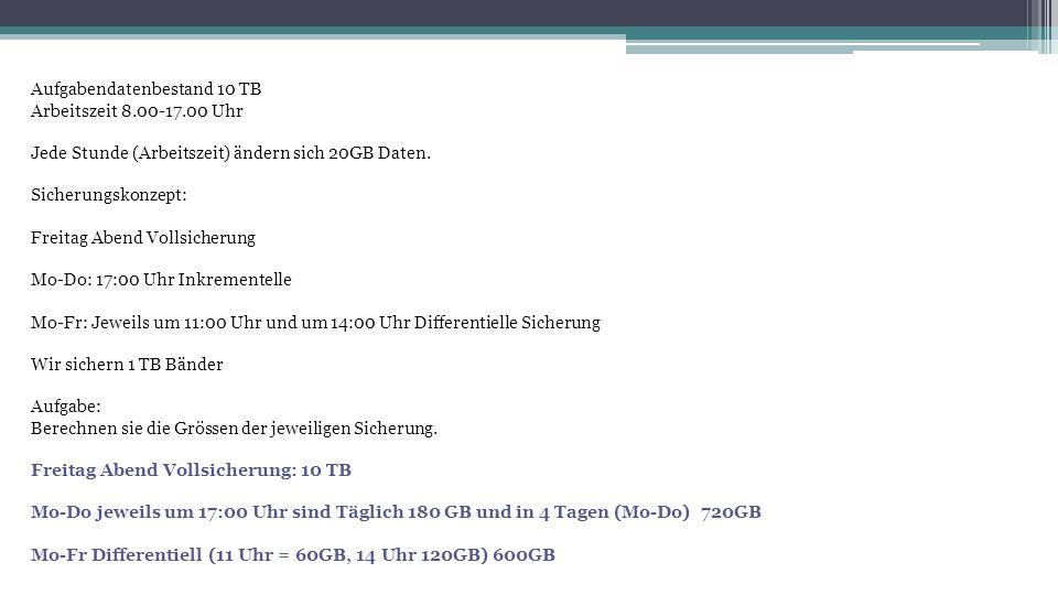 Aufgabendatenbestand 10 TB