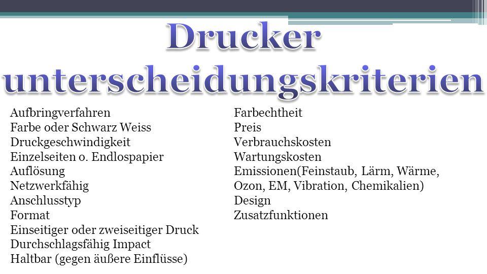 Drucker unterscheidungskriterien