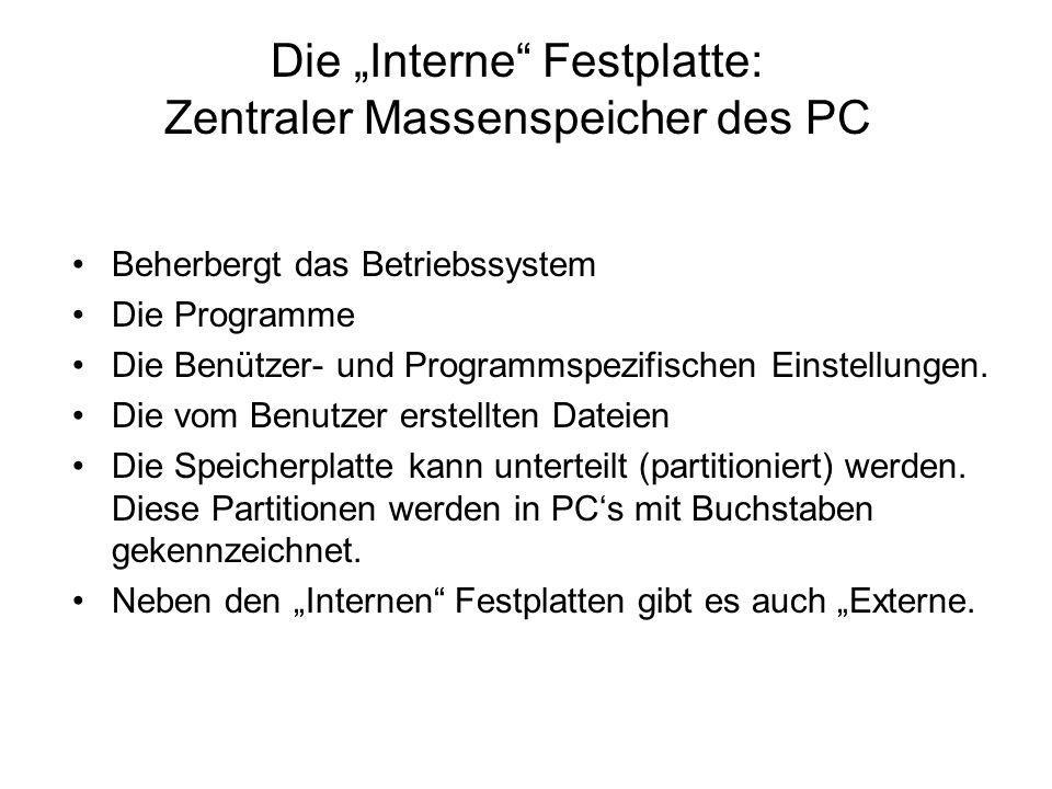 """Die """"Interne Festplatte: Zentraler Massenspeicher des PC"""
