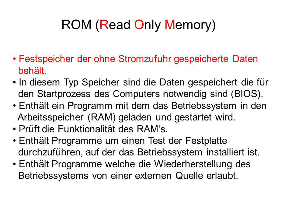 ROM (Read Only Memory) Festspeicher der ohne Stromzufuhr gespeicherte Daten behält.